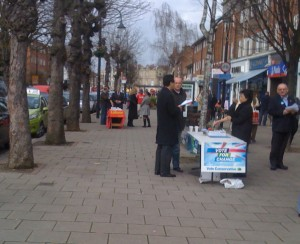 Saturday morning campaigning in Wanstead High Street